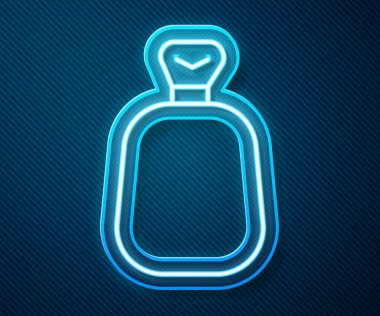 Glowing neon line Full sack icon isolated on blue background.  Vector. icon