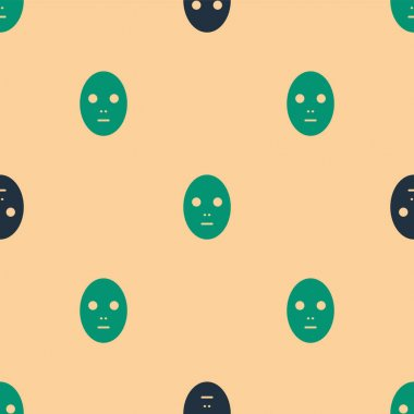 Green and black Facial cosmetic mask icon isolated seamless pattern on beige background. Cosmetology, medicine and health care.  Vector Illustration. icon