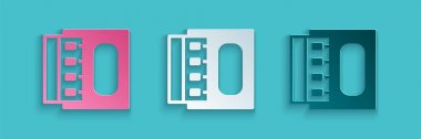 Paper cut Open matchbox and matches icon isolated on blue background. Paper art style. Vector. icon
