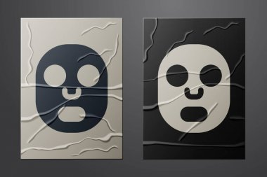 White Facial cosmetic mask icon isolated on crumpled paper background. Cosmetology, medicine and health care. Paper art style. Vector. icon