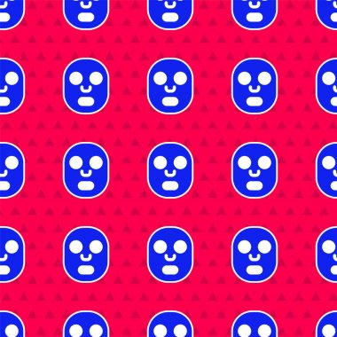 Blue Facial cosmetic mask icon isolated seamless pattern on red background. Cosmetology, medicine and health care.  Vector. icon
