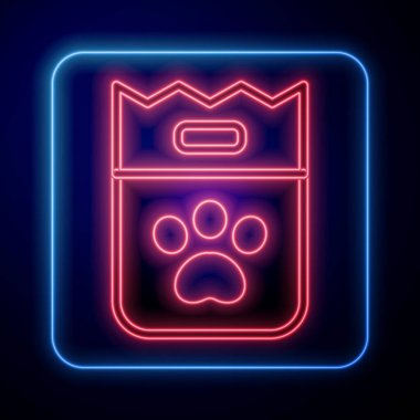 Glowing neon Bag of food for dog icon isolated on blue background. Dog or cat paw print. Food for animals. Pet food package.  Vector. icon