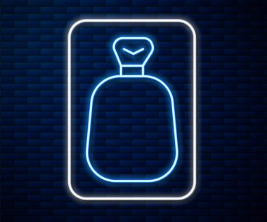 Glowing neon line Full sack icon isolated on brick wall background.  Vector. icon