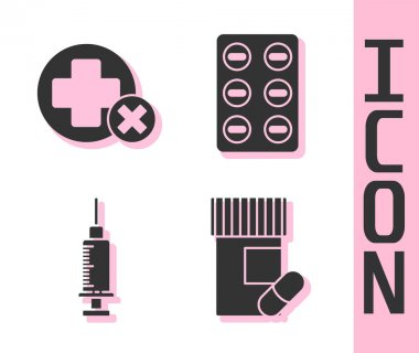 Set Medicine bottle and pills, Cross hospital medical, Syringe and Pills in blister pack icon. Vector. icon