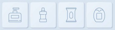 Set line Bottle of shampoo, Wet wipe pack, for cleaning agent and . White square button. Vector. icon