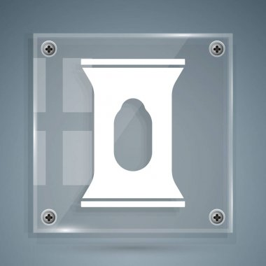 White Wet wipe pack icon isolated on grey background. Square glass panels. Vector. icon