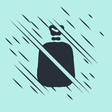 Black Full sack icon isolated on green background. Glitch style. Vector. icon