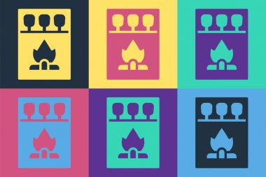 Pop art Open matchbox and matches icon isolated on color background.  Vector. icon