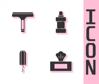 Set Wet wipe pack, Rubber cleaner, Sanitary tampon and Bottle for cleaning agent icon. Vector. icon