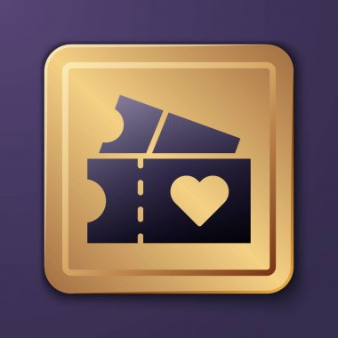 Purple Love ticket icon isolated on purple background. Valentines day sign. Couple relationships symbol. Gold square button. Vector. icon