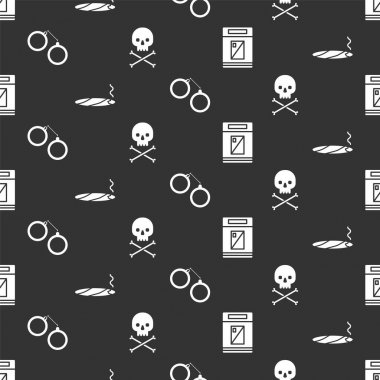 Set Cigarettes pack box, Cigar with smoke, Handcuffs and Skull on crossbones on seamless pattern. Vector. icon