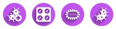 Set Positive virus, Pills in blister pack, Corona virus covid-19 and Virus icon with long shadow. Vector. icon