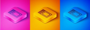 Isometric line Open matchbox and matches icon isolated on pink and orange, blue background. Square button. Vector. icon