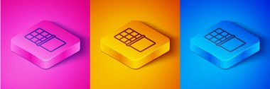 Isometric line Chocolate bar icon isolated on pink and orange, blue background. Square button. Vector. icon