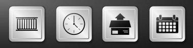 Set Container, Clock, Carton cardboard box and Calendar icon. Silver square button. Vector. icon