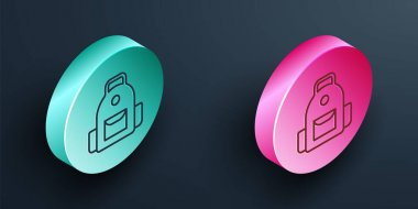 Isometric line School backpack icon isolated on black background. Turquoise and pink circle button. Vector. icon
