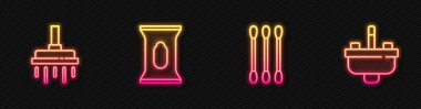 Set line Cotton swab for ears, Shower head, Wet wipe pack and Washbasin with water tap. Glowing neon icon. Vector. icon