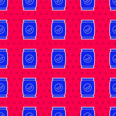Blue Bag or packet potato chips icon isolated seamless pattern on red background.  Vector Illustration. icon