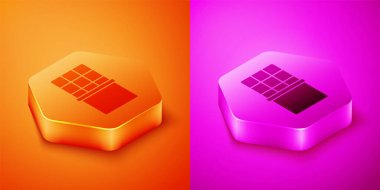 Isometric Chocolate bar icon isolated on orange and pink background. Hexagon button. Vector. icon