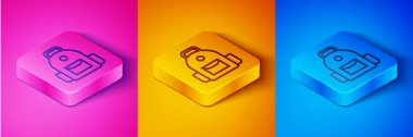 Isometric line School backpack icon isolated on pink and orange, blue background. Square button. Vector. icon