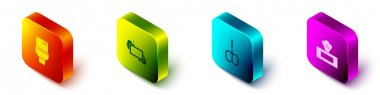 Set Isometric Toilet bowl, Bar of soap, Nail scissors and Wet wipe pack icon. Vector. icon