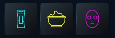 Set line Bottle of shampoo, Facial cosmetic mask and Sea salt in bowl. Black square button. Vector. icon