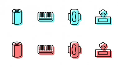 Set line Sanitary napkin, Paper towel roll, Hairbrush and Wet wipe pack icon. Vector. icon