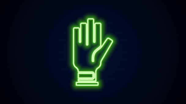 Leuchtendes neonfarbenes Golf-Handschuh-Symbol auf schwarzem Hintergrund. Sportgeräte. Sportuniform. 4K Video Motion Grafik Animation