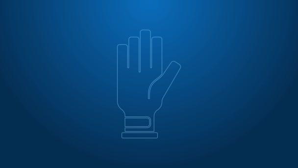 Weiße Linie Golf Handschuh Symbol isoliert auf blauem Hintergrund. Sportgeräte. Sportuniform. 4K Video Motion Grafik Animation