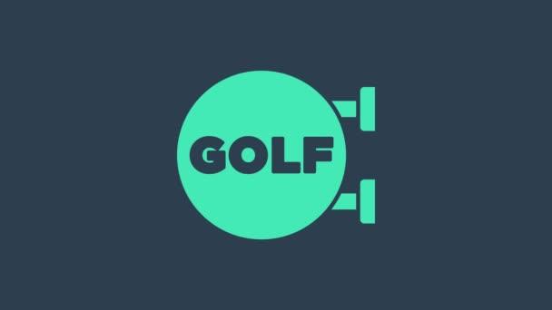 Türkis Golf Sport Club Symbol isoliert auf blauem Hintergrund. 4K Video Motion Grafik Animation