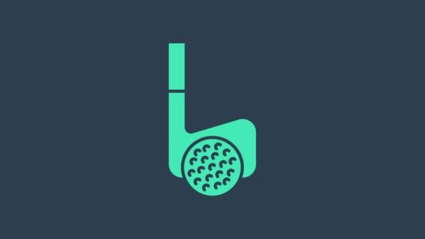 Türkisfarbener Golfschläger mit Ball-Symbol auf blauem Hintergrund. 4K Video Motion Grafik Animation