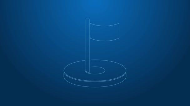 Weiße Linie Golfloch mit Flaggensymbol isoliert auf blauem Hintergrund. 4K Video Motion Grafik Animation
