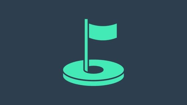Türkisfarbenes Golfloch mit Fahnensymbol auf blauem Hintergrund. 4K Video Motion Grafik Animation