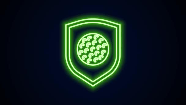Leuchtende Neon-Linie Golfball mit Schild-Symbol isoliert auf schwarzem Hintergrund. 4K Video Motion Grafik Animation