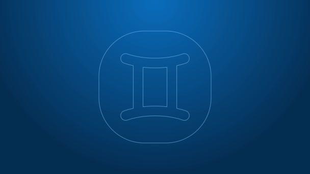 Weiße Linie Zwillinge Tierkreiszeichen Symbol isoliert auf blauem Hintergrund. Astrologische Horoskopsammlung. 4K Video Motion Grafik Animation