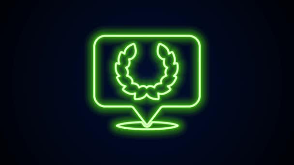 Ragyogó neon vonal Laurel koszorú ikon elszigetelt fekete háttérrel. Diadal szimbólum. 4K Videó mozgás grafikus animáció