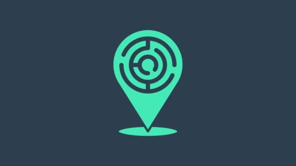 Turquoise Minotaur maze or labyrinth icon isolated on blue background. Ancient Greek mythology. 4K Video motion graphic animation