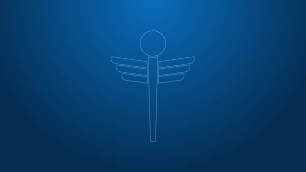 Weiße Linie Caduceus Schlange medizinisches Symbol auf blauem Hintergrund isoliert. Medizin und Gesundheitsfürsorge. Emblem für Drogerie oder Medizin, Apotheke. 4K Video Motion Grafik Animation