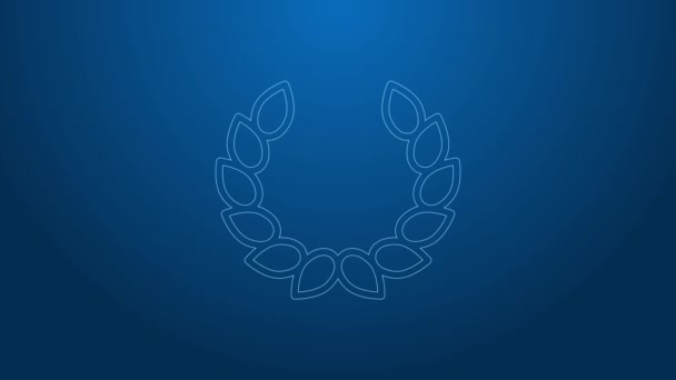 White line Laurel wreath icon isolated on blue background. Triumph symbol. 4K Video motion graphic animation