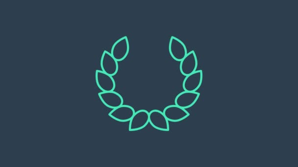 Turquoise Laurel wreath icon isolated on blue background. Triumph symbol. 4K Video motion graphic animation