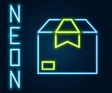 Glowing neon line Carton cardboard box icon isolated on black background. Box, package, parcel sign. Delivery and packaging. Colorful outline concept. Vector Illustration. icon
