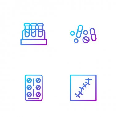 Set line Scar with suture, Pills in blister pack, Test tube blood and Medicine pill or tablet. Gradient color icons. Vector. icon