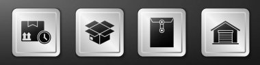 Set Cardboard box and fast time, Carton cardboard box, Envelope and Warehouse icon. Silver square button. Vector. icon
