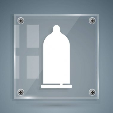 White Condom safe sex icon isolated on grey background. Safe love symbol. Contraceptive method for male. Square glass panels. Vector. icon
