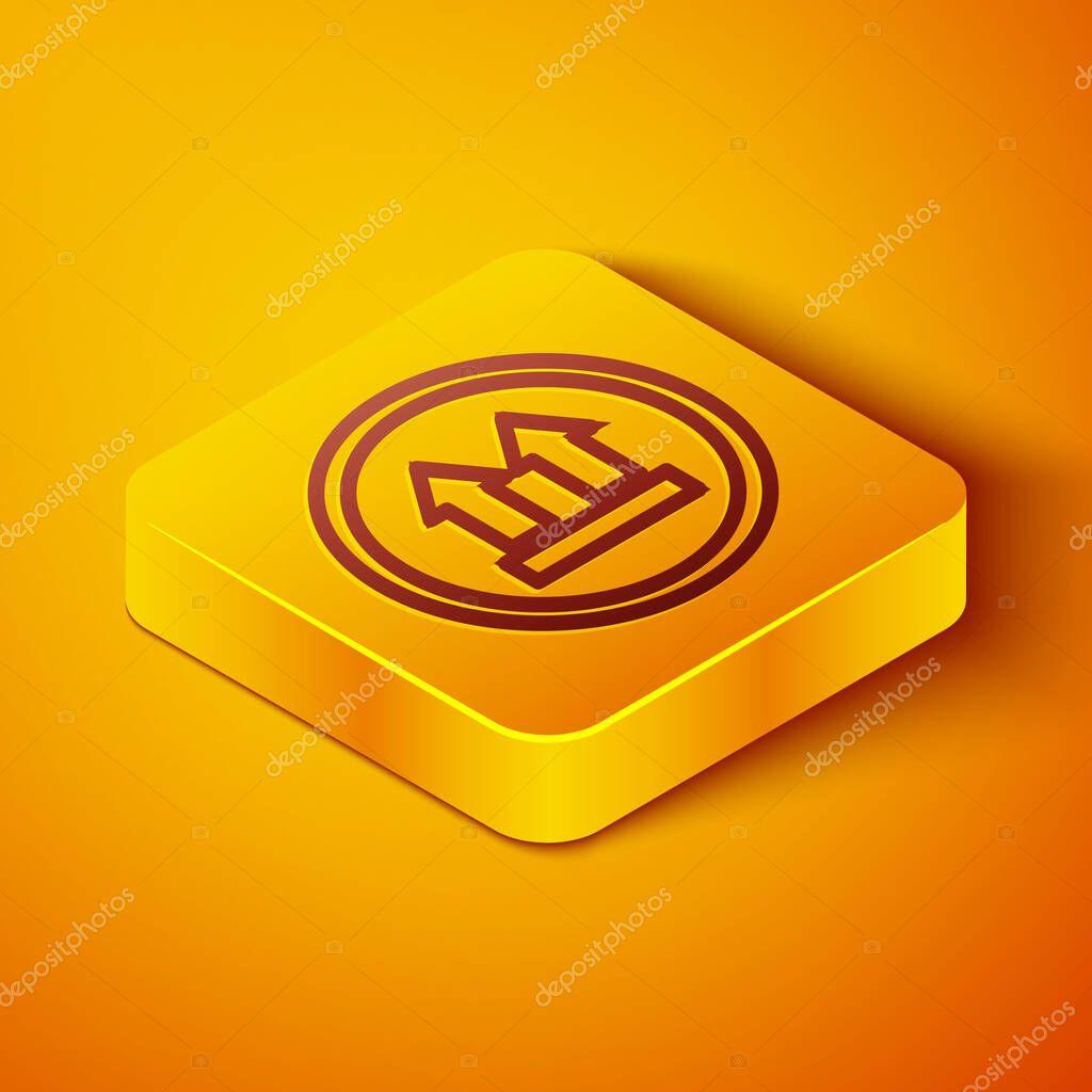 Isometric line This side up icon isolated on orange background icon