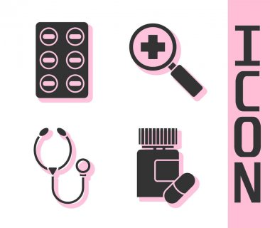 Set Medicine bottle and pills, Pills in blister pack, Stethoscope and Magnifying glass for search medical icon. Vector. icon