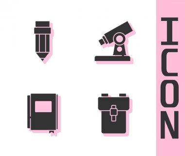 Set School backpack, Pencil with eraser, Book and Microscope icon. Vector. icon