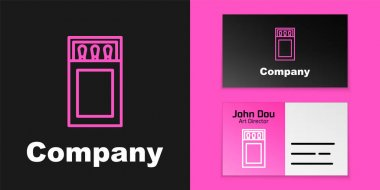 Pink line Open matchbox and matches icon isolated on black background. Logo design template element. Vector. icon