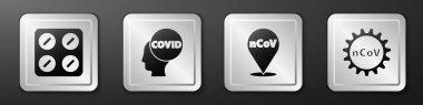 Set Pills in blister pack, Corona virus covid-19, Corona virus 2019-nCoV on location and Corona virus 2019-nCoV icon. Silver square button. Vector. icon