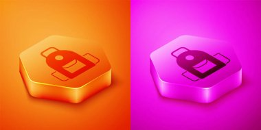 Isometric School backpack icon isolated on orange and pink background. Hexagon button. Vector. icon